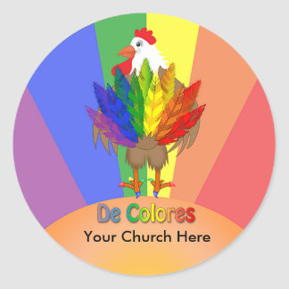Rooster Looking Back at De Colores Tail Round Sticker