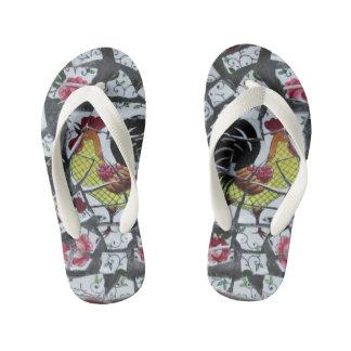 rooster mosaic  pattern kid's flip flops