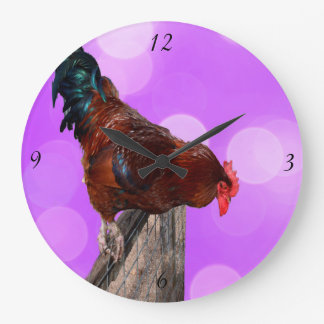 Rooster Nosy Parker, Pink Large Wall Clock. Large Clock