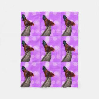 Rooster Nosy Parker, Pink Small Fleece Blanket