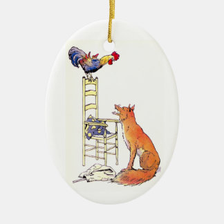 Rooster on Chair Looking Down at Fox Ceramic Ornament