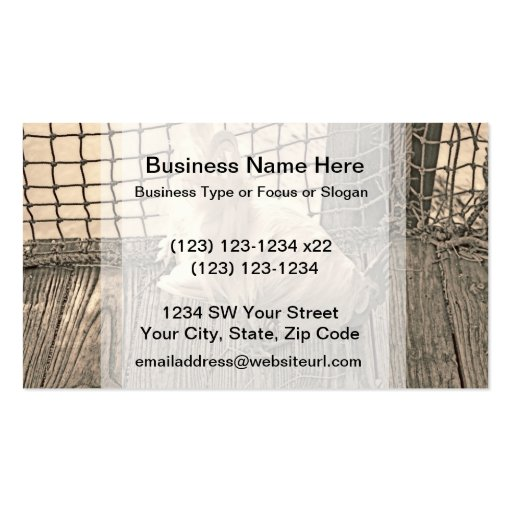 rooster on dock sepia bird image business card template