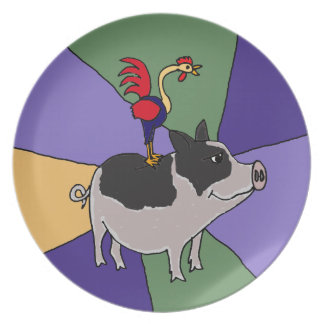 Rooster on Pig Colorful Folk Art Plate