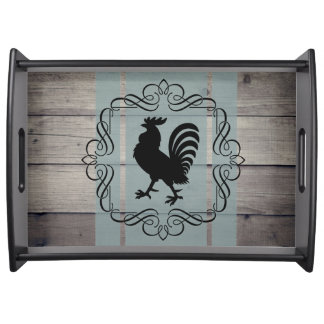 Rooster on Wood Plank Serving Tray