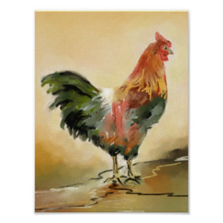 Rooster painting poster