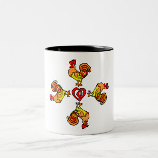 Rooster Pinwheel Two-Tone Coffee Mug