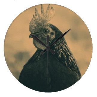 Rooster Portrait Large Clock