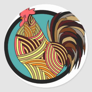 rooster poultry animal farm classic round sticker