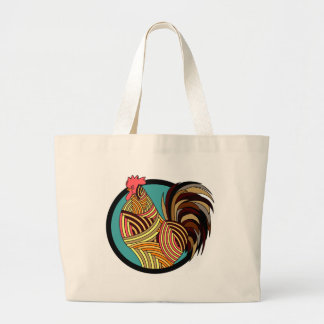 rooster poultry animal farm large tote bag