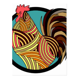 rooster poultry animal farm postcard