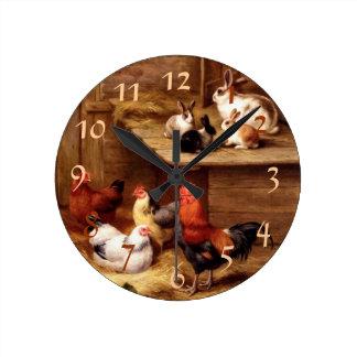 Rooster Rabbit Pets Wall Clocks