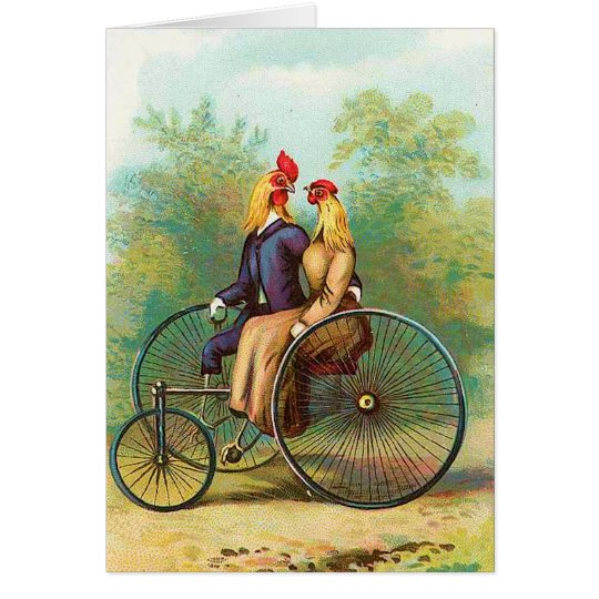 Rooster Romantic Bike Date Card