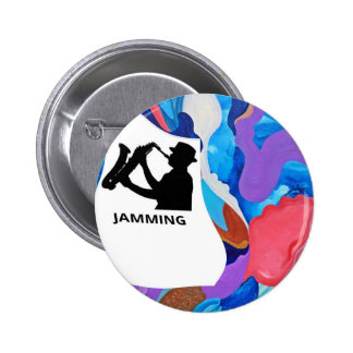 Rooster Saxophone Jamming 2 Inch Round Button
