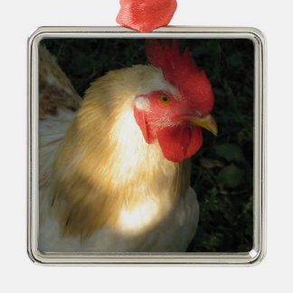 Rooster Silver-Colored Square Ornament