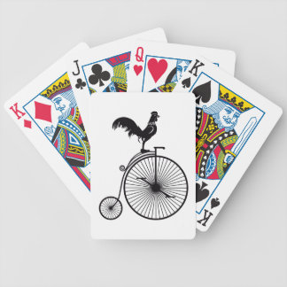 Rooster Sitting on Vintage Bicycle Bicycle Playing Cards