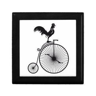 Rooster Sitting on Vintage Bicycle Gift Box