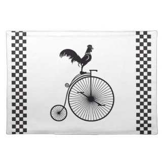 Rooster Sitting on Vintage Bicycle Placemat