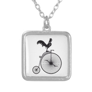 Rooster Sitting on Vintage Bicycle Silver Plated Necklace