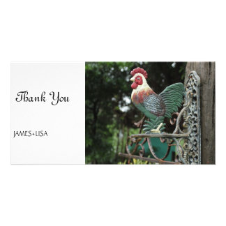 Rooster Statue Personalized Photo Card