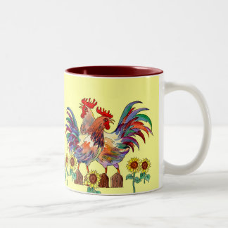 ROOSTER SUNFLOWER CUP by SHARON SHARPE Two-Tone Coffee Mug