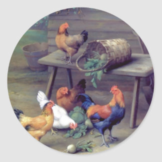 Rooster Turnip Basket Hens Stickers