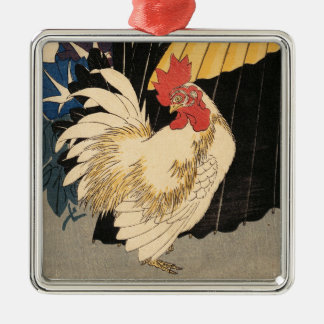"""""""Rooster, Umbrella, and Morning Glories"""" Ornament"""