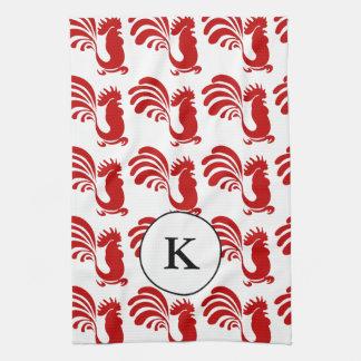 Rooster w/Monogram Kitchen Towel
