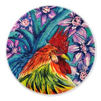 Rooster Watercolour Ceramic Dresser Knob