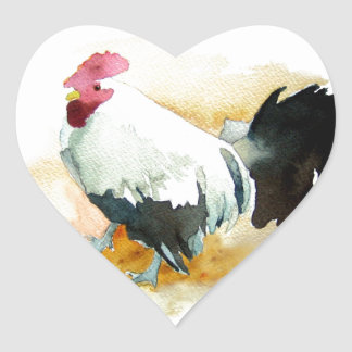 Rooster with an Attitude Heart Sticker
