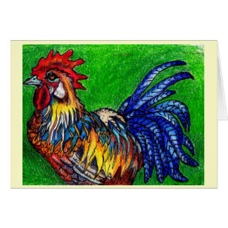 Rooster With Green Note Card