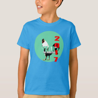 Rooster Year 2017 Green Circle Kids Shirt