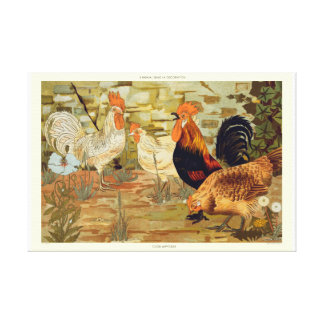Roosters and hens canvas print