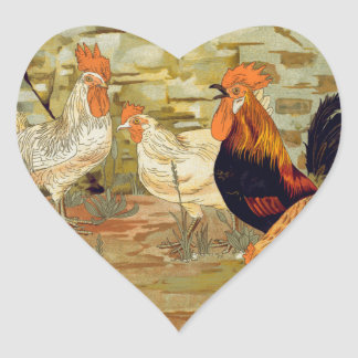 Roosters and hens heart sticker