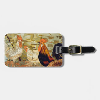 Roosters and hens luggage tag