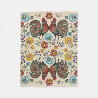 Roosters and Roses Fleece Blanket