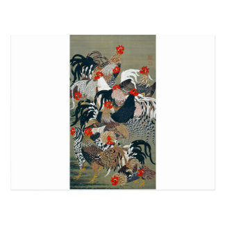 Roosters by Ito Jakuchu Postcard