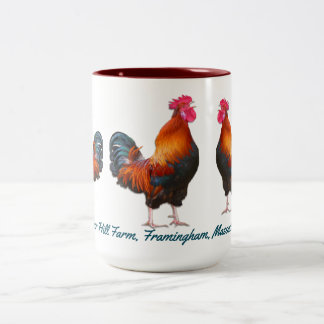 Roosters Farm with Custom Teal Text Two-Tone Coffee Mug