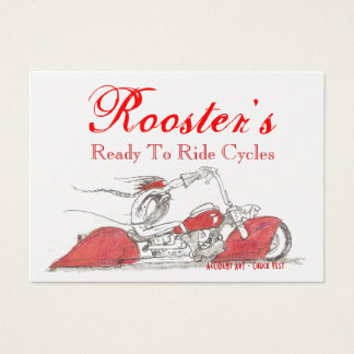 'Rooster's' Gleaming Gold Cycle Business Cards
