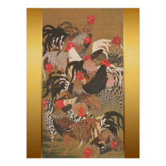 Roosters Japanese Painting with Golden Background Poster