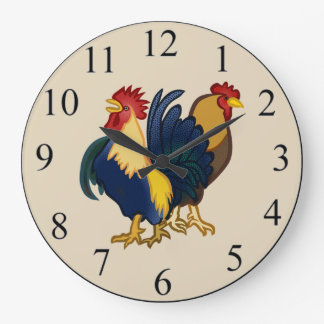 Roosters Large Clock