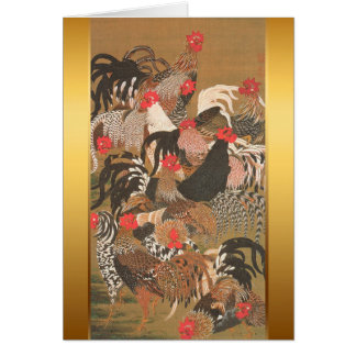 Roosters New Year 2017 Japanese Painting Card