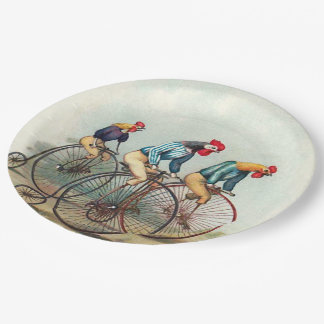 Roosters Riding Tall Bikes Paper Plate