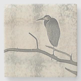 Roosting Heron Stone Coaster