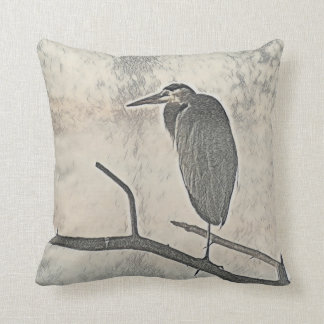 Roosting Heron Throw Pillow