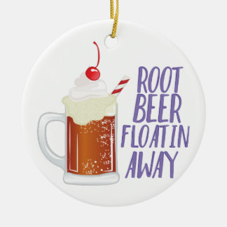 Root Beer Floatin Round Ceramic Ornament