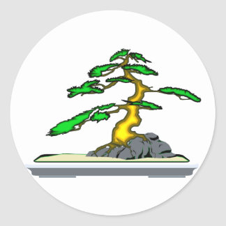 Root Over Rock Bonsai Old in Grey Tray Round Sticker