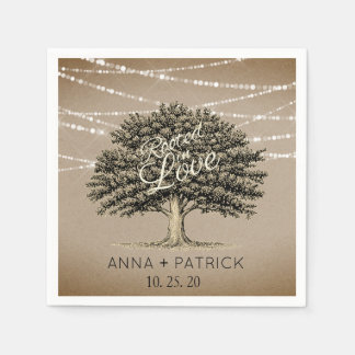 Rooted in Love Rustic Tree String Lights Wedding Napkin