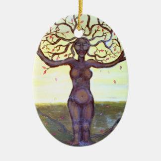 """Rooted"" Tree Goddess Art Ceramic Ornament"