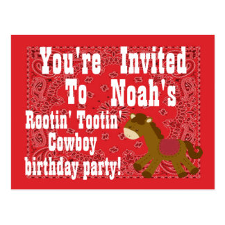 Rootin' Tootin' Cowboy Birthday Party Invitation Postcard