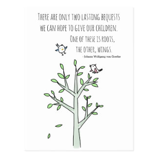 Roots and Wings Inspiring Parenting Quote Postcard